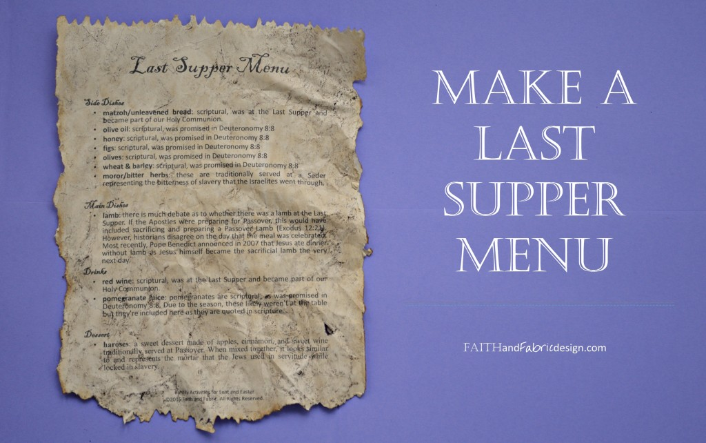 Faith and Fabric - Last Supper Menu