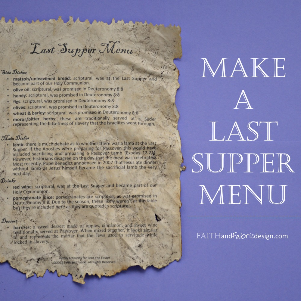 Faith and Fabric - Last Supper Menu 2