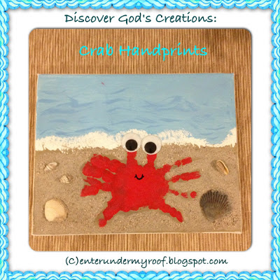 handprint craft, crab hand print