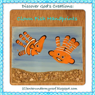 handprint craft, clown fish, hand prints