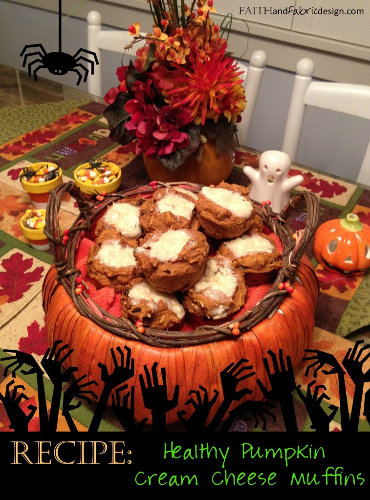 Healthy Pumpkin Muffins with Cream Cheese for Halloween or Thanksgiving