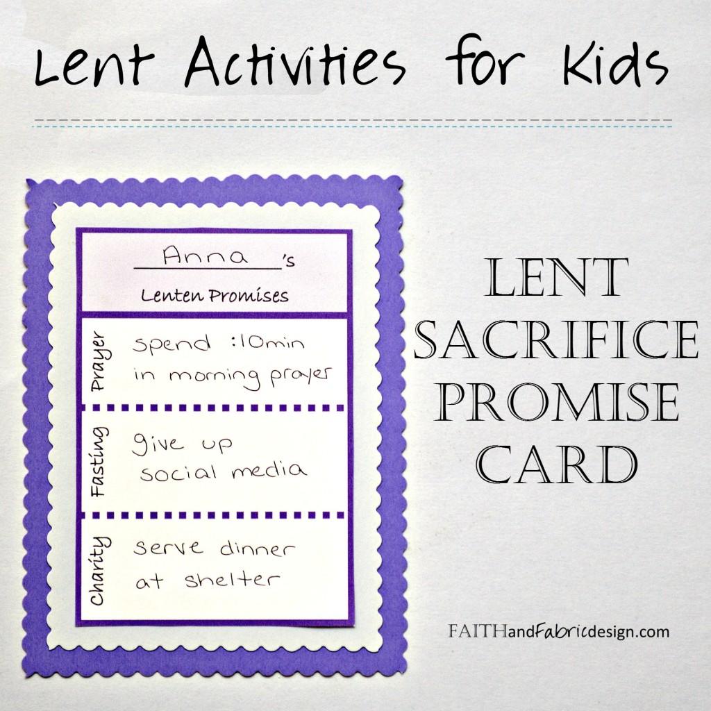 Faith and Fabric - Lent Promise Card for Kids 2