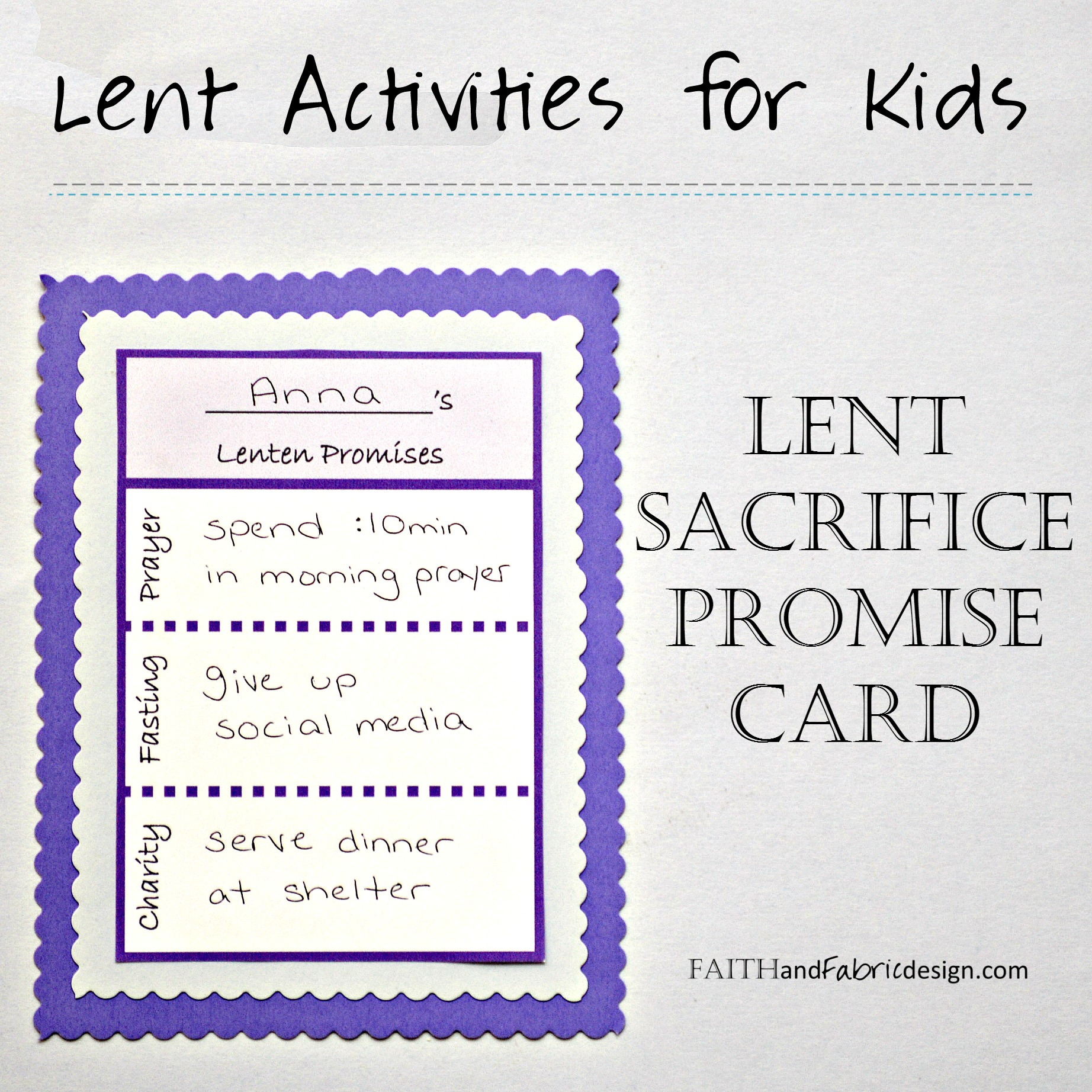 ACTIVITY: Lent Promise Card for Families (free printable ...