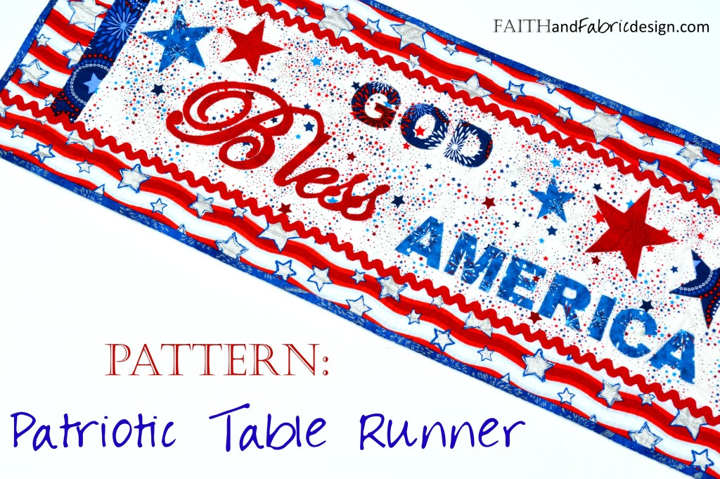 Quilts God Bless America Table Runner Fourth Of July