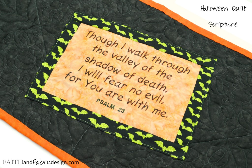 Halloween Table Runner Quilted with Scripture Applique and Embroidery