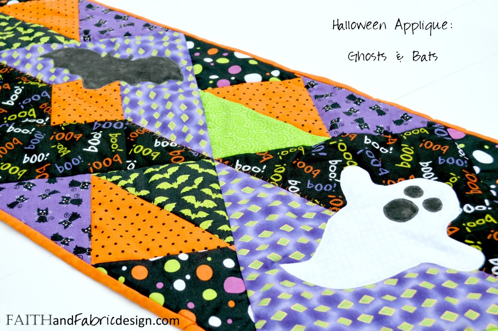 halloween applique quilted table runner