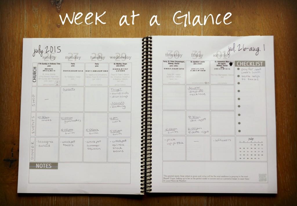 Catholic Planner Week View