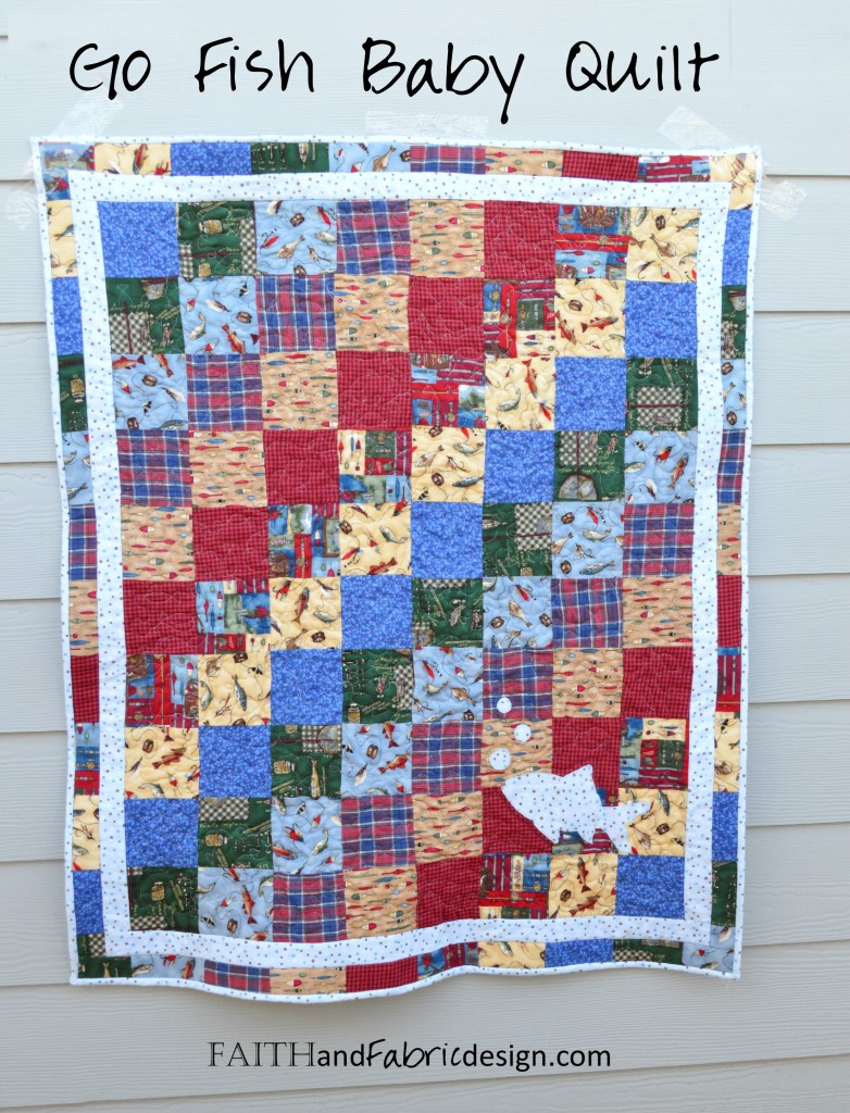Go Fish! A soft fleece baby quilt that's just the right mix of baby and boy.