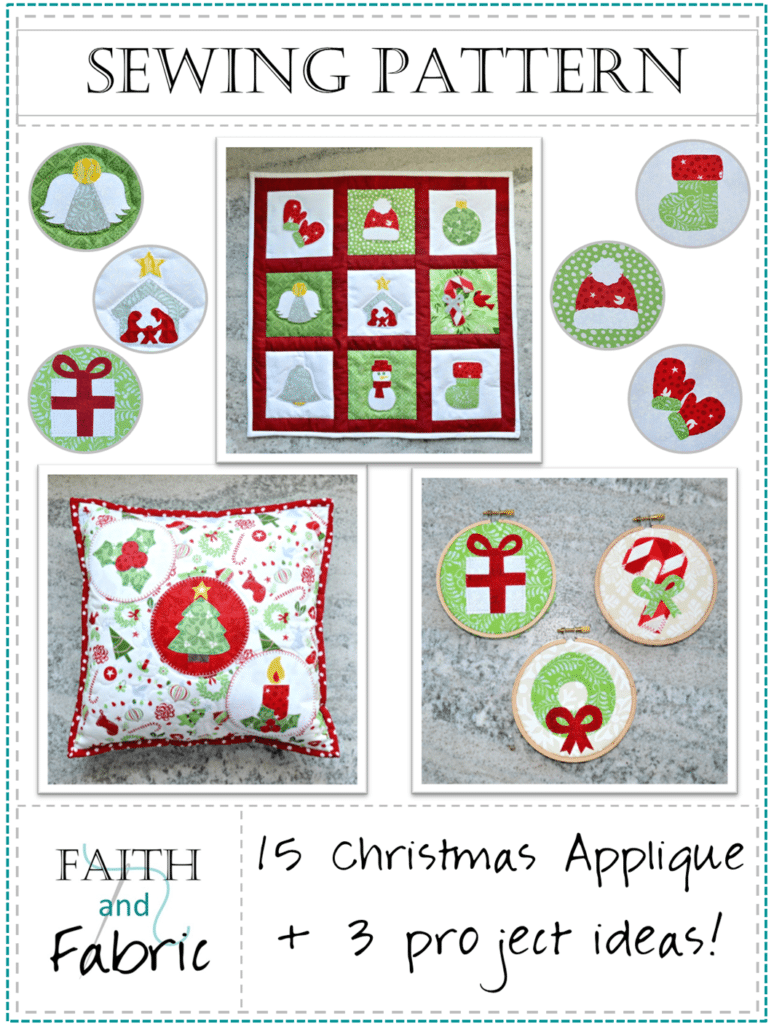 Christmas Applique Quilt and Sewing Pattern Cover