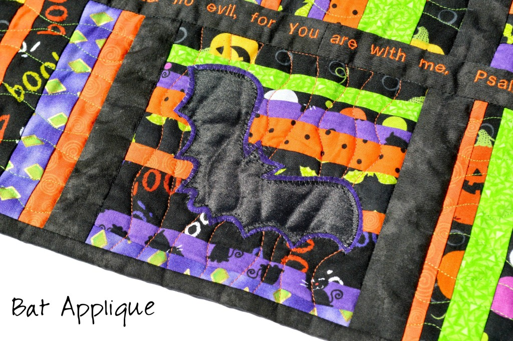 Scrap String Halloween Table Runner with Scripture and Bats