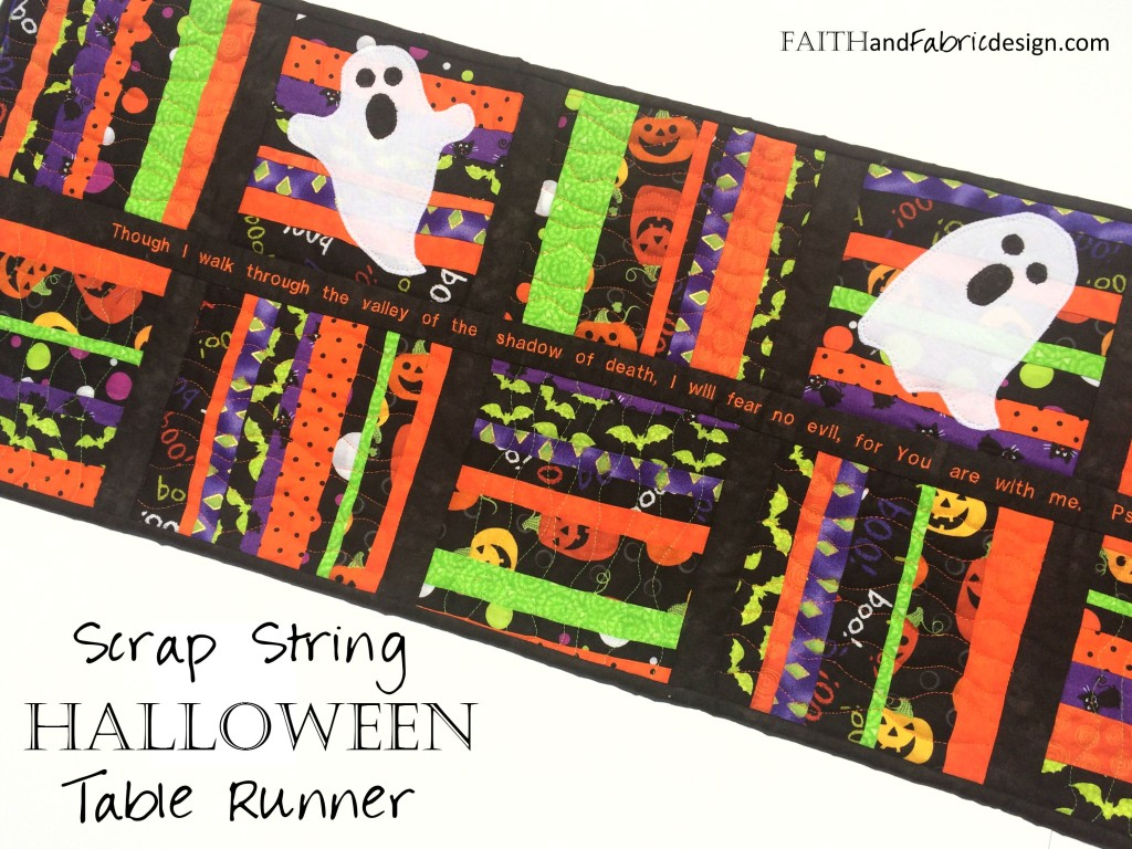Halloween Table Runner Quilt with Scripture Pattern: this simple scrappy quilt will help put a dent in your scraps as well as serve as a boo-tiful Halloween treat!