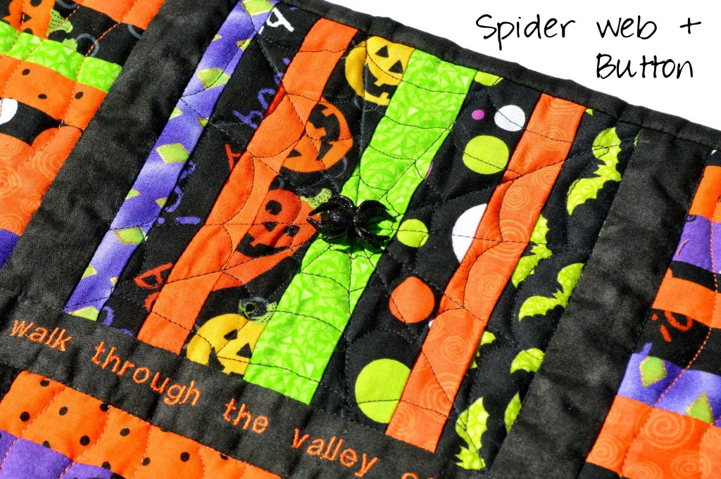 Scrap String Halloween Table Runner with Scripture and FMQ Spider Web