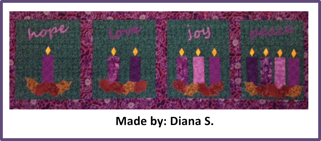 Faith and Fabric - Catholic Advent Quilt made by Diana S