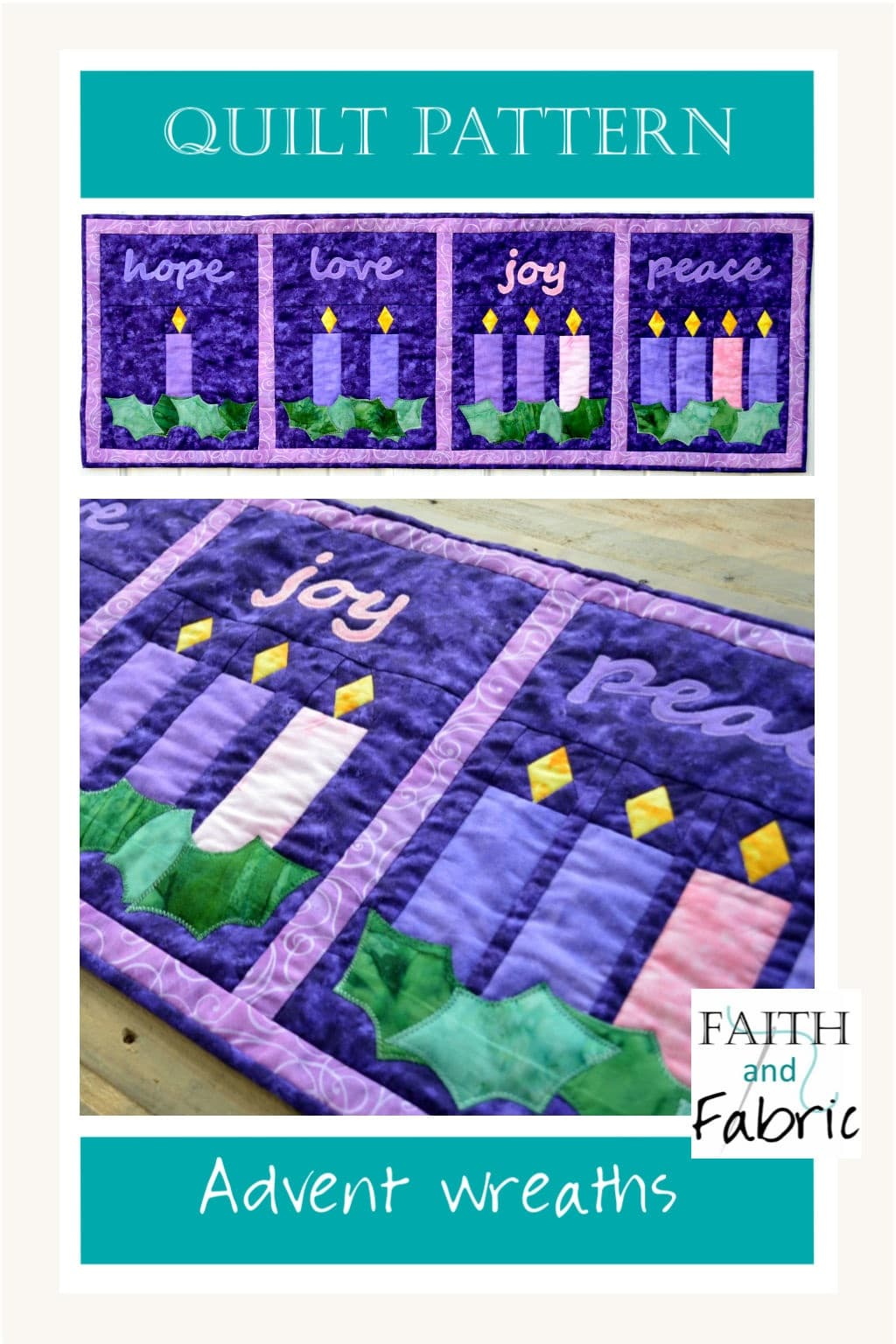 Celebrate the beauty of Advent with this versatile Advent quilt pattern! The four quilt panels can be arranged to be either a table runner, banner, or wall hanging. Each panel in this Christian quilt represents a different week of the Advent season.