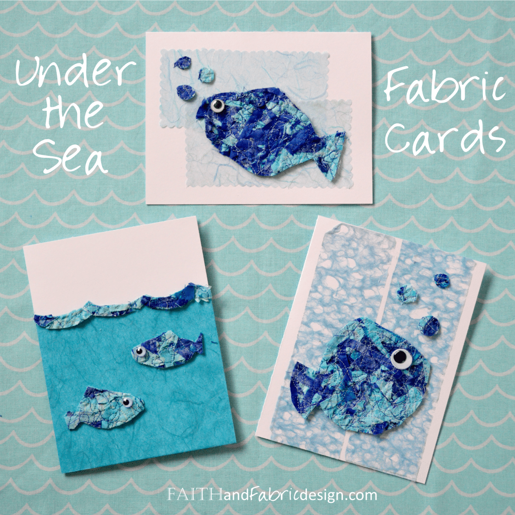 Faith and Fabric - Upcycled Fabric Cards Tutorial Ocean