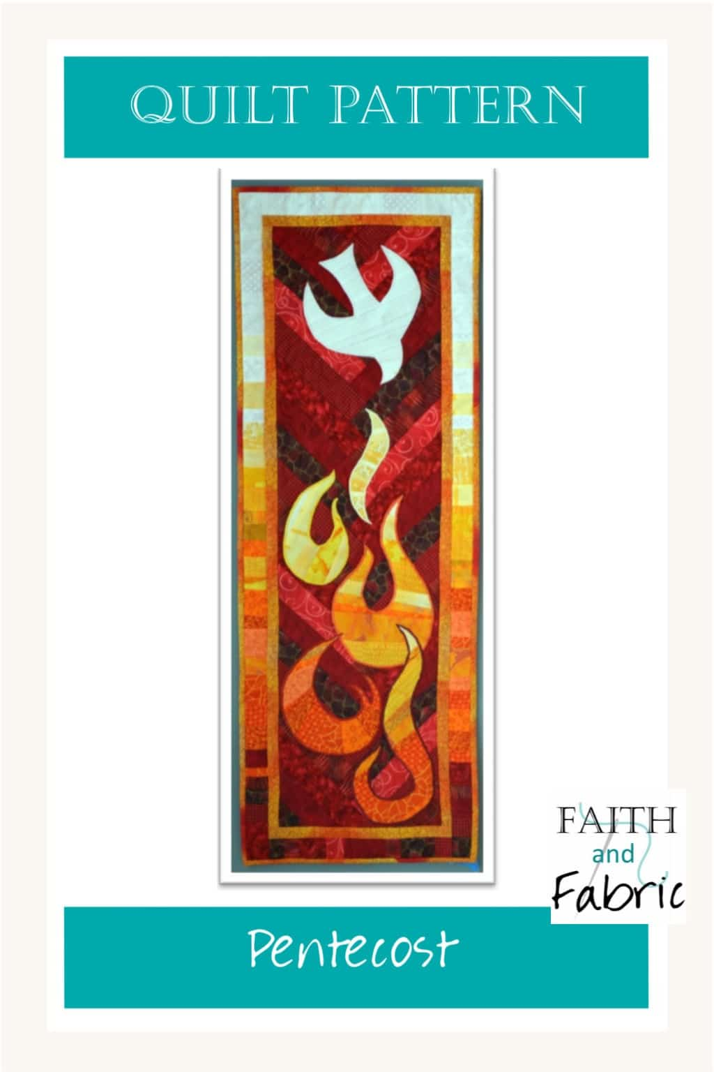 Celebrate the fire of Pentecost with this bold quilt pattern! The dove dives into the flames in the radiating banner, making it the perfect quilt for hanging in your church for Pentecost. Designed by Faith and Fabric.