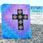 This Christian quilt, made by Jen Frost of Faith and Fabric, captures the joy of Easter! The purple of Lent fades into the blue sky as the brilliance of the white and pink speak to the joy of the resurrection!