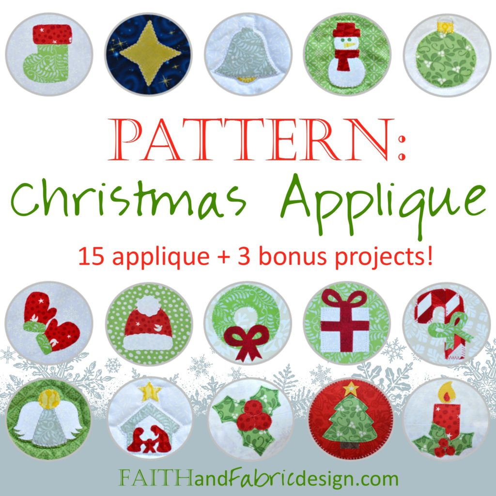 Christmas Applique Quilt and Sewing Pattern Button