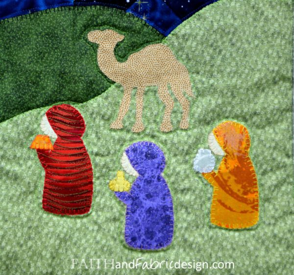 Silent Night Nativity Christmas Quilt Pattern Detail 11
