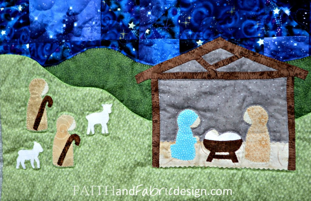 Silent Night Nativity Christmas Quilt Pattern Detail 6