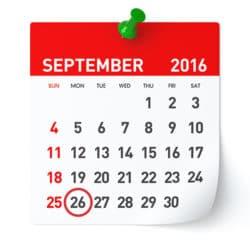 September 2016 - Calendar.