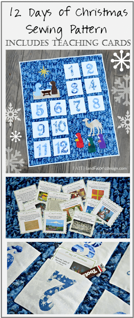 12 Days of Christmas Quilt with Interactive Learning Cards - this sewing pattern is simple to do in just a day, and will last for years to come!