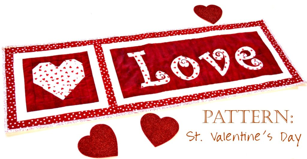 Love Table Runner Pattern Saint Valentines Day