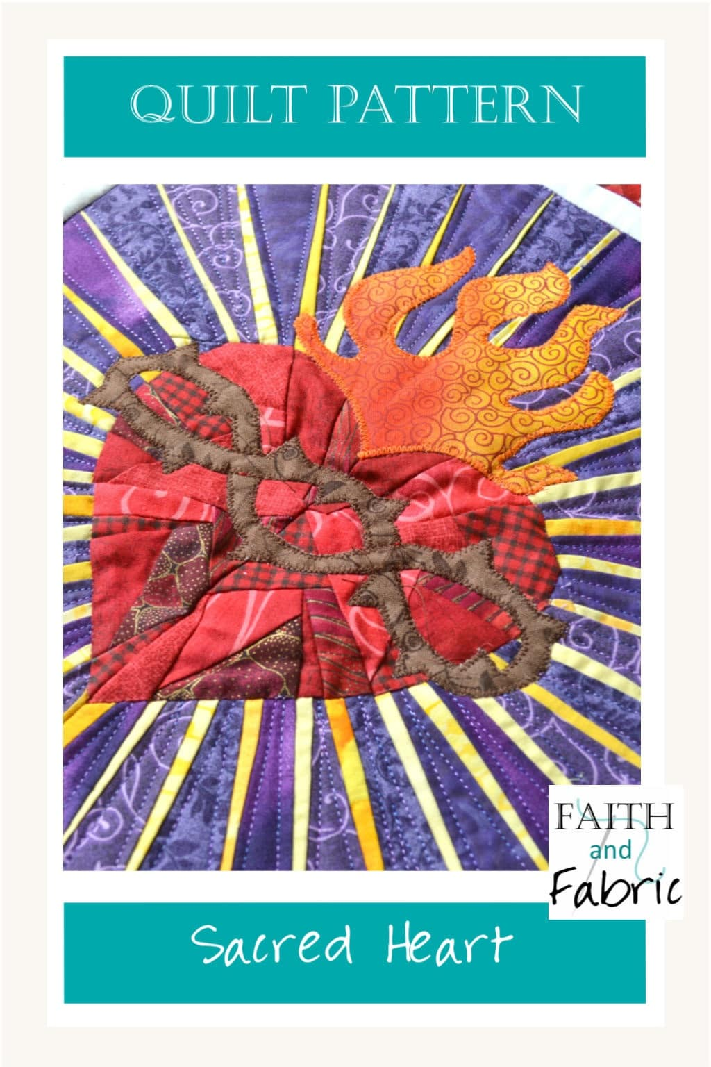 Celebrate the mystery of the Sacred Heart! This Sacred Heart quilt pattern combines foundation paper piece within the heart and radiant rays, applique flames and crown of thorns, and both traditional and improv piecing for the finishing details.