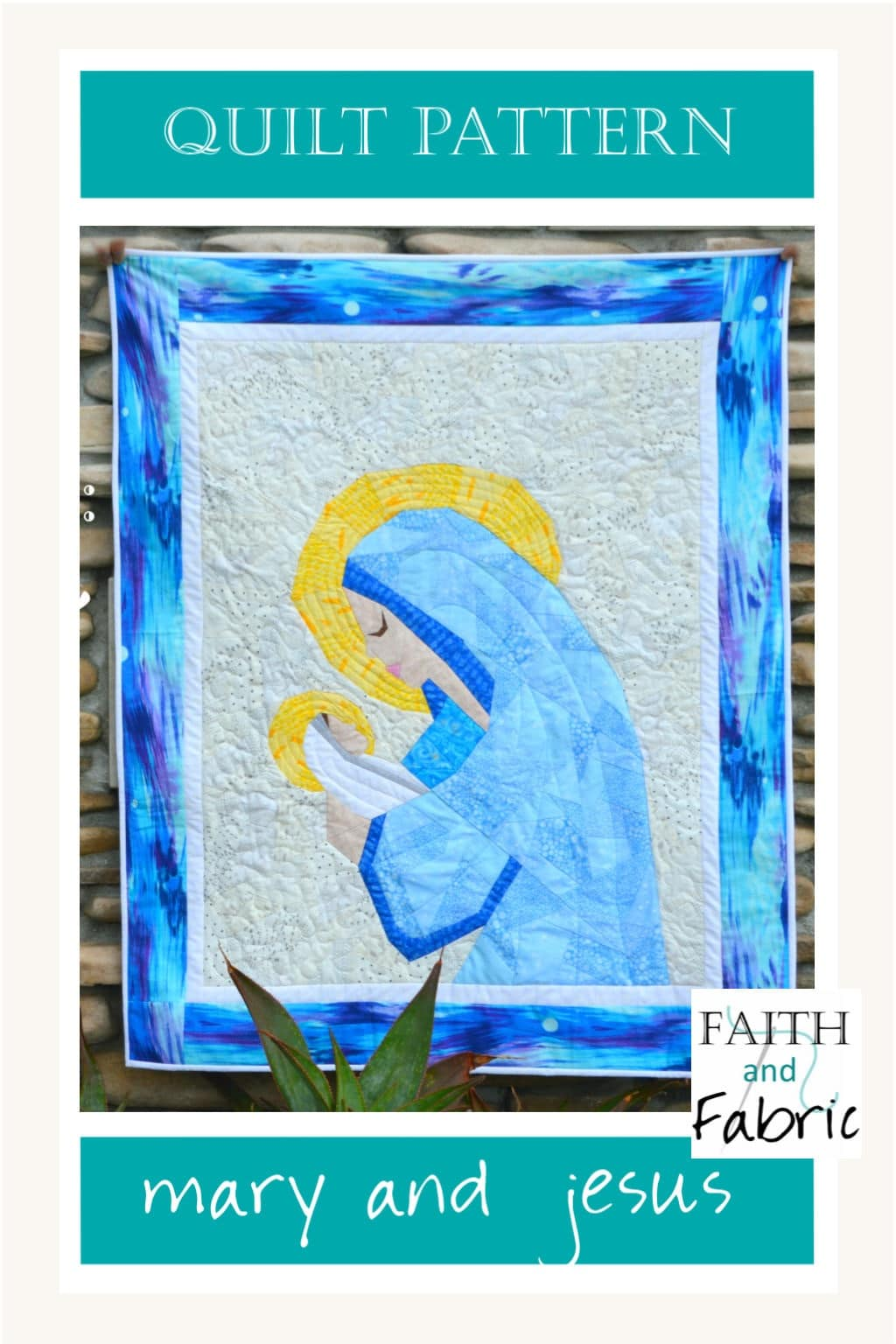 Celebrate the love of mother and child with this Christian quilt pattern of Mary and Jesus, perfect for Christmas or any time! While many quilt patterns depict the cross, here you'll create the birth of Jesus as a quilt.