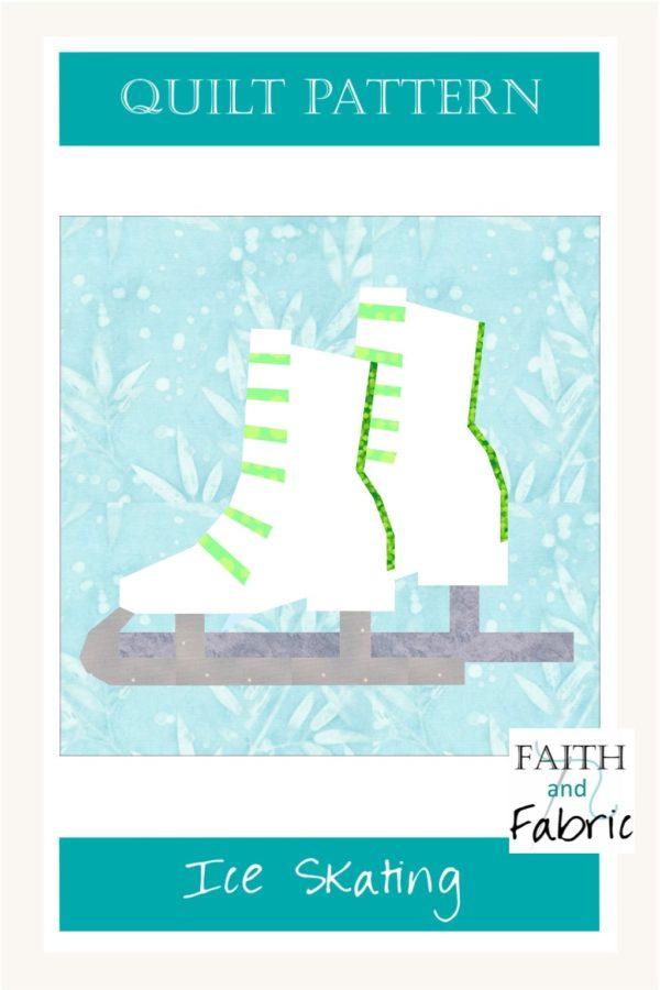 Ice Skates Ice Skating Ice Hockey Winter Sports Quilt Faith and Fabric pin
