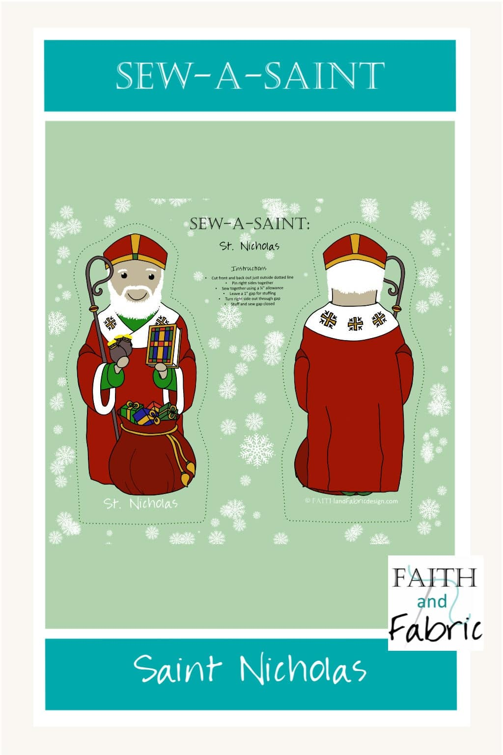 Sew a soft plush doll of your favorite saint: Saint Nicholas (St. Nick)! Perfect project for beginners.