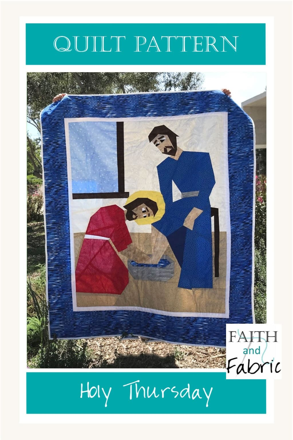 This Christian quilt pattern for Lent depicts Jesus washing Peter's feet. This Last Supper quilt pattern is foundation paper pieced, making it a great quilt for novice sewists as you just sew on the lines. Celebrate Holy Thursday with this beautiful Lent quilt pattern design!