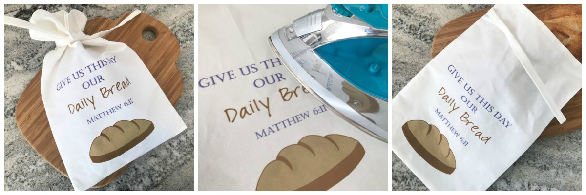 Christian Breadbag Give Us This Day Our Daily Bread Bag Fabric Collage