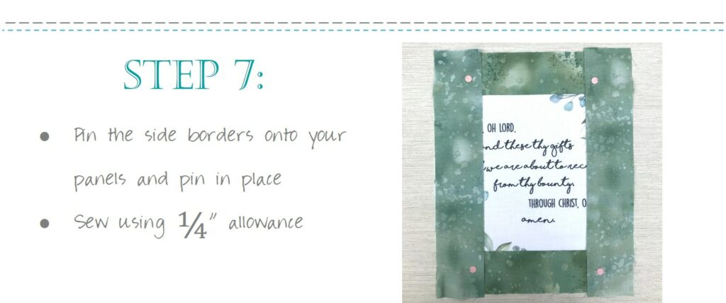 Sew Christian Placemats Set with Grace Prayer
