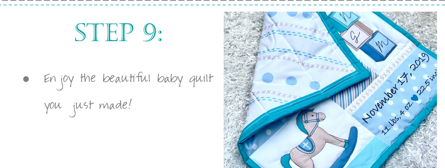Sew a beautiful baby blanket quilt with this custom fabric - a DIY project!
