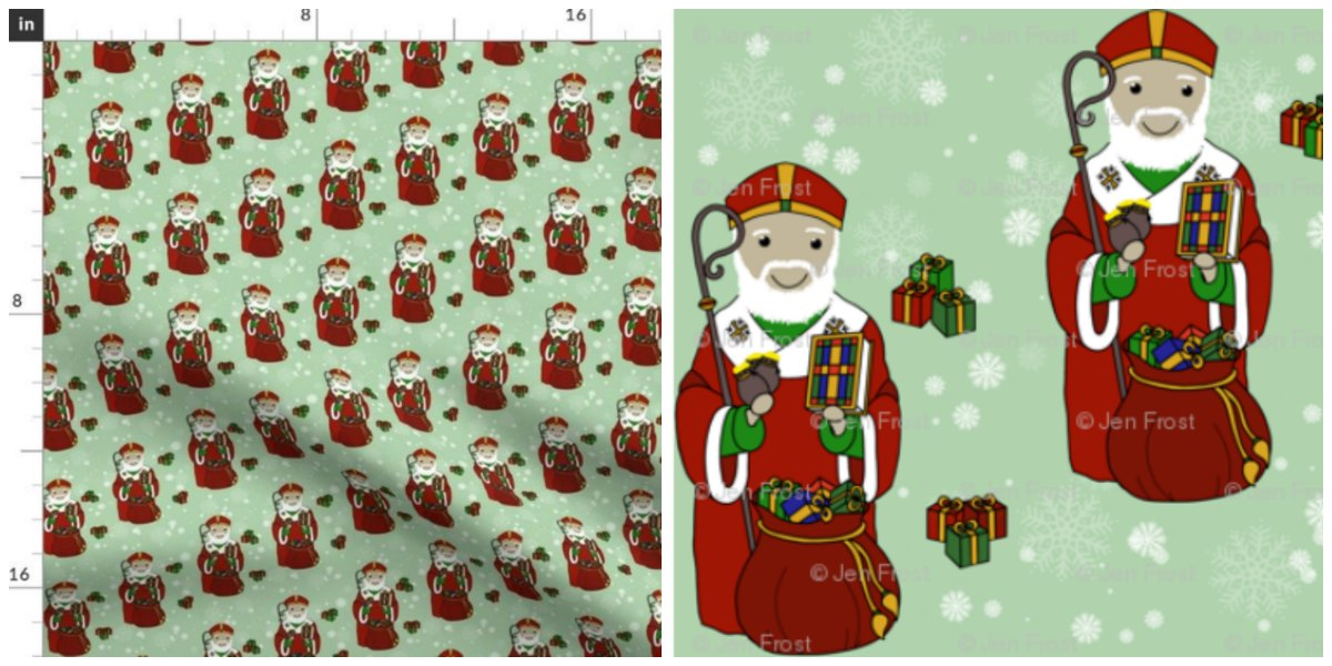 Create a beautiful Christmas sewing project with this St. Nick / Saint Nicholas fabric!