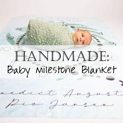 Handmade: Organic Cotton Milestone Baby Blanket Quilt (Catholic / Rosary)