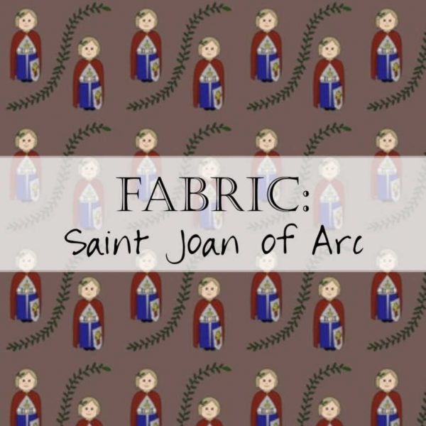 This beautiful fabric, by the yard, depicts the strength of Saint Joan of Arc!