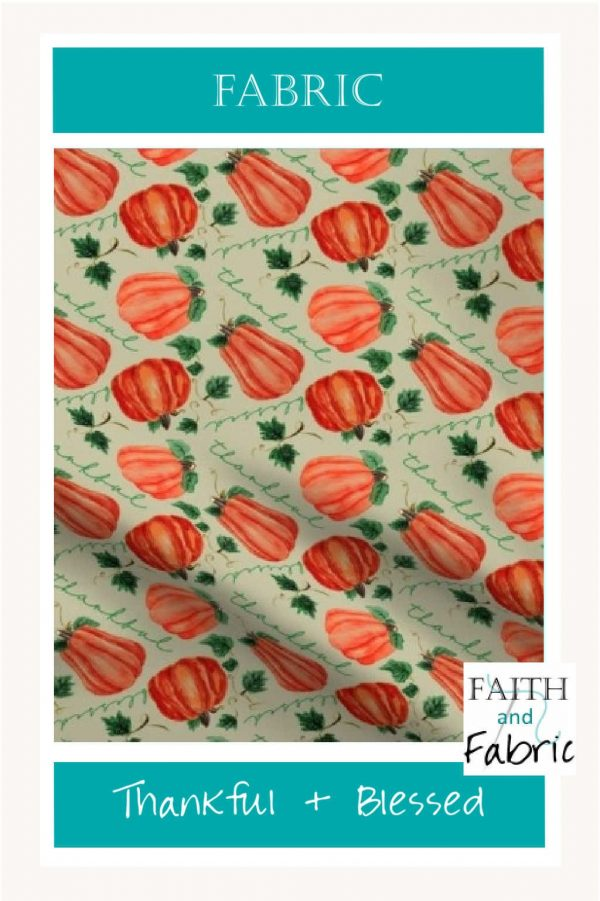 Pumpkin Thankful Blessed Fall Fabric