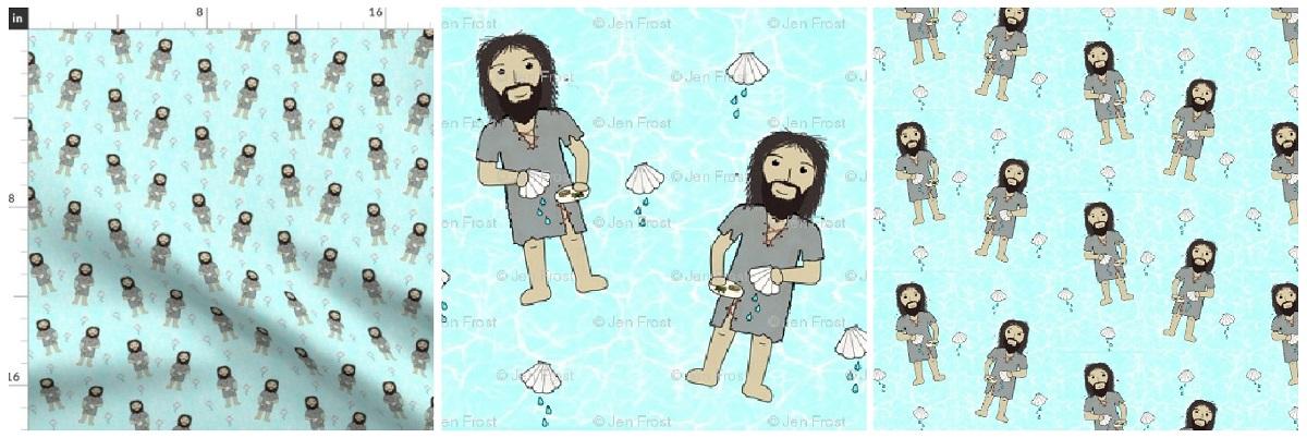 John the Baptist Fabric Yardage Collage