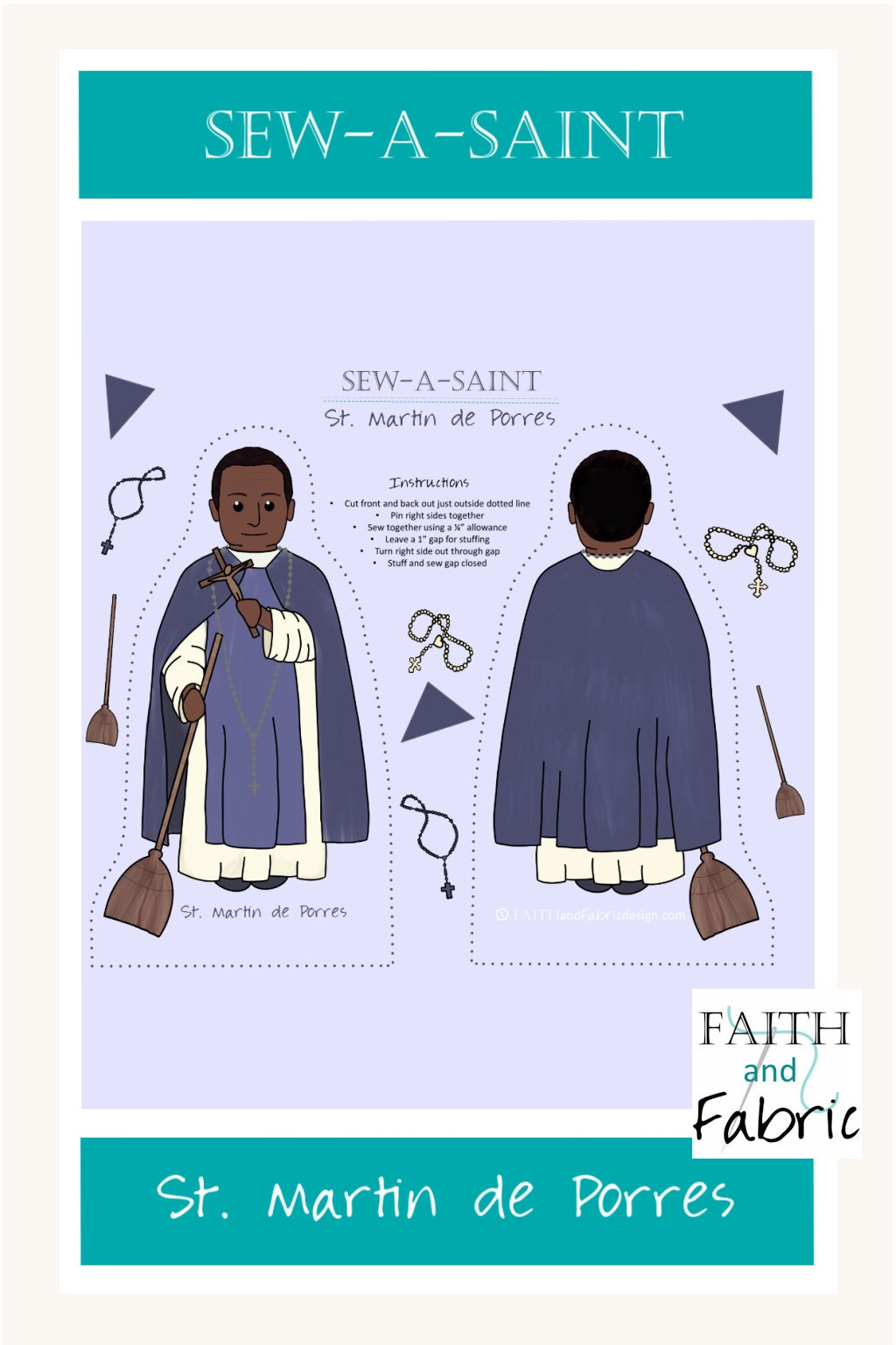 Sew a Saint St Martin de Porres Vertical
