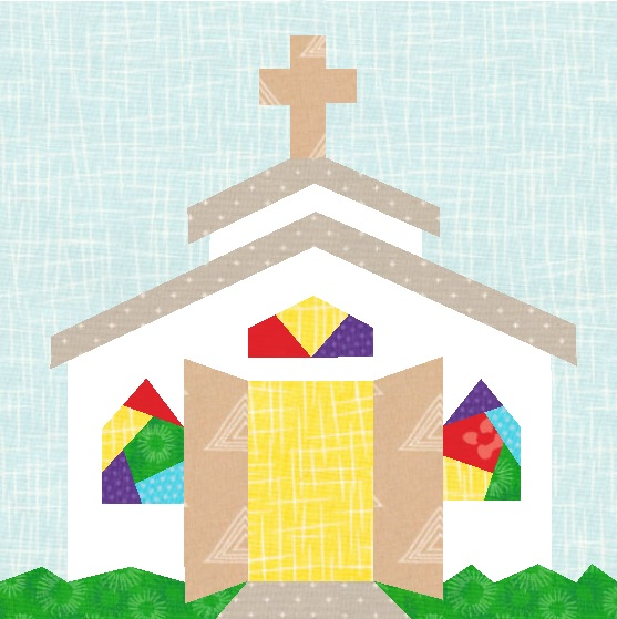 Celebrate the welcome of your church with this open door chapel Christian quilt block pattern!