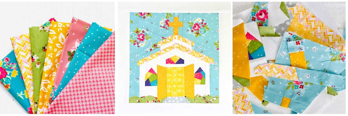 Open Door Chapel Quilt Block Pattern Collage