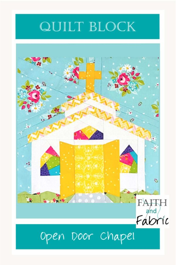 """There's nothing more welcoming than having the doors thrown open wide when you arrive, and that warm sentiment is captured in this chapel quilt block. The doors stand wide open, waiting for you to enter! This quilt block pattern comes in three sizes (8"""", 10"""", and 12""""), and includes a bonus coloring page."""