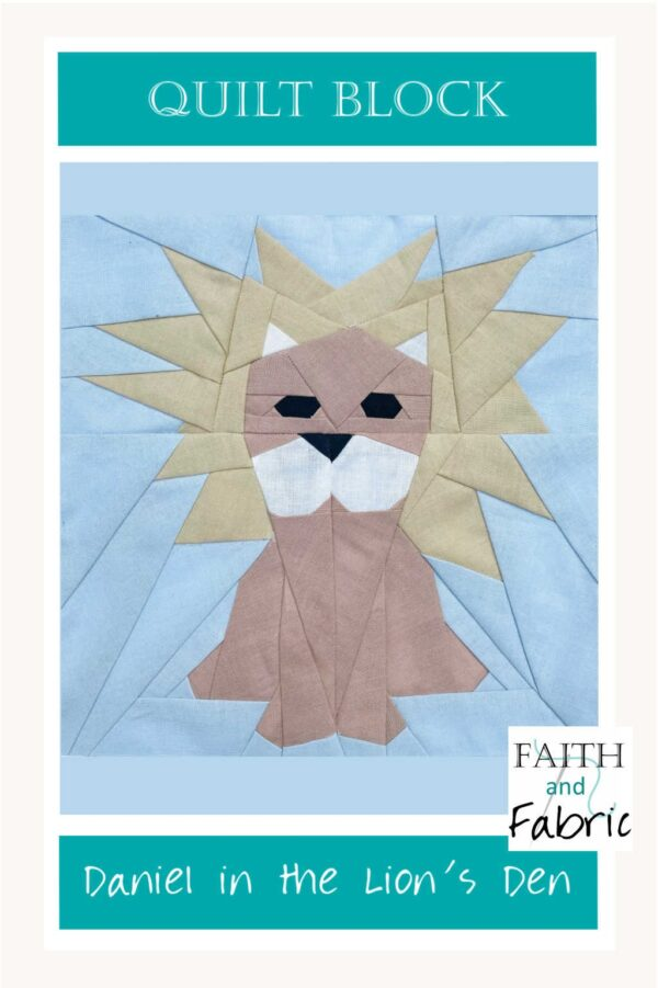 "Create a beautiful quilt block made from this Daniel in the Lion's Den pattern, or design an entire quilt full of these adorable little lions! Create your own version of Daniel in the Lion's Den with this foundation paper pieced quilt block; includes instruction for 8"", 10"", and 12"" blocks."