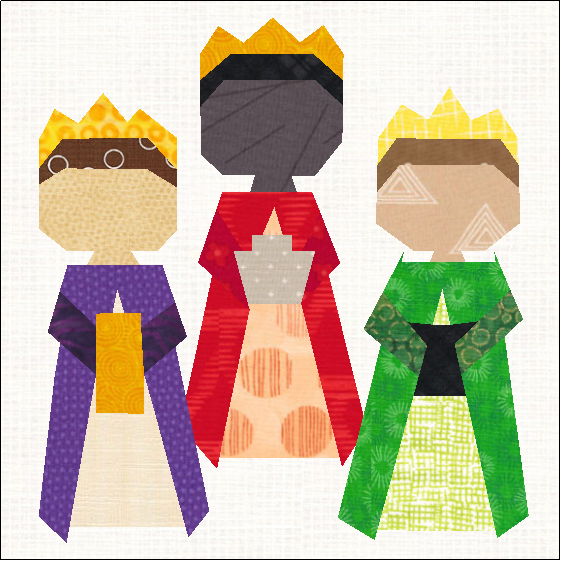 Celebrate the Three Magi / Wise Men with this Christian Christmas quilt block pattern for Epiphany!