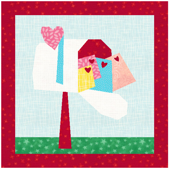 Create a beautiful St. Valentine's Day love note quilt with this quilt block pattern featuring love notes, hearts, and mailbox!