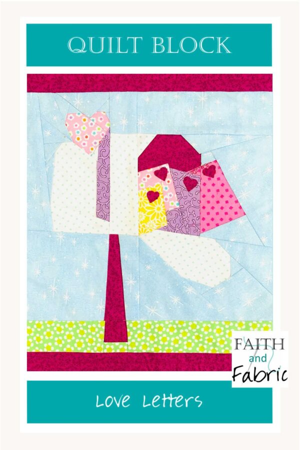 Quilt Block Pattern Love Letters Notes Valentine Day Vertical