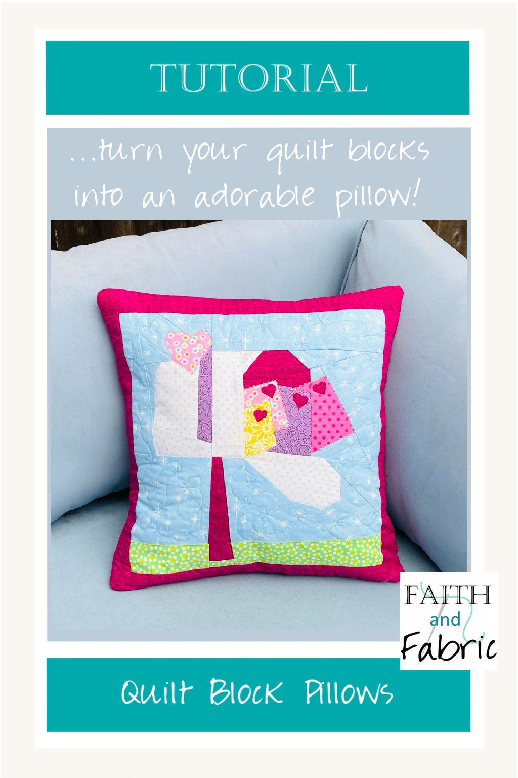Tutorial on how to make a quilt block into an envelope pillow case with step-by-step video