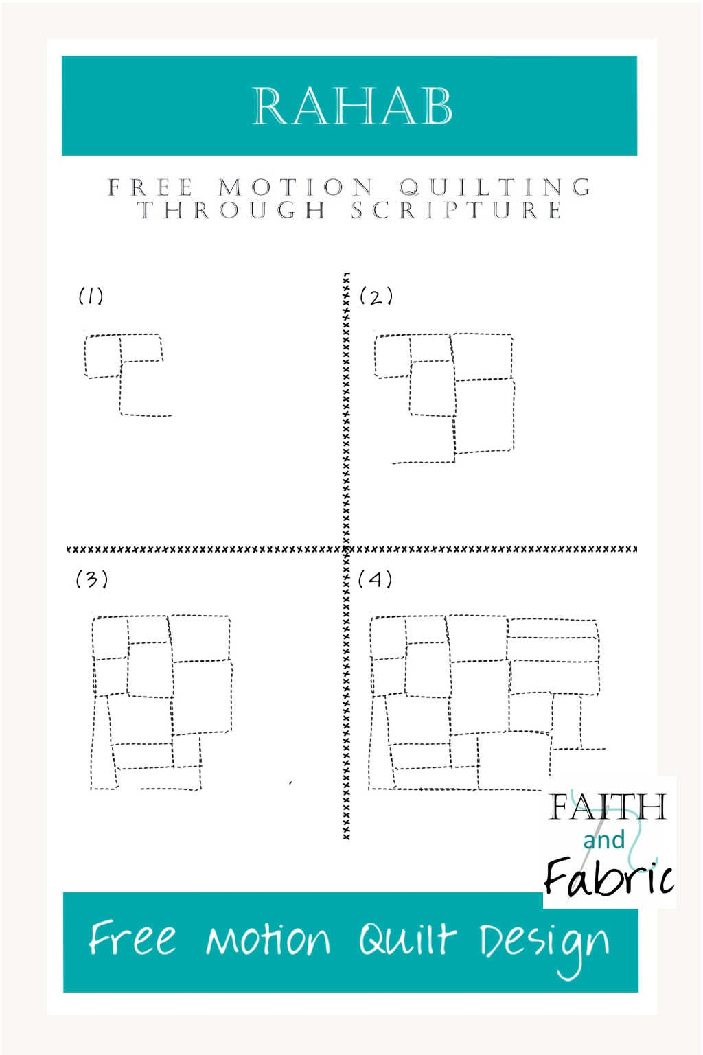 Learn to free motion quilt with faith-inspired designs! This design, inspired by the brick walls of Jericho, celebrates the strength of Rahab.